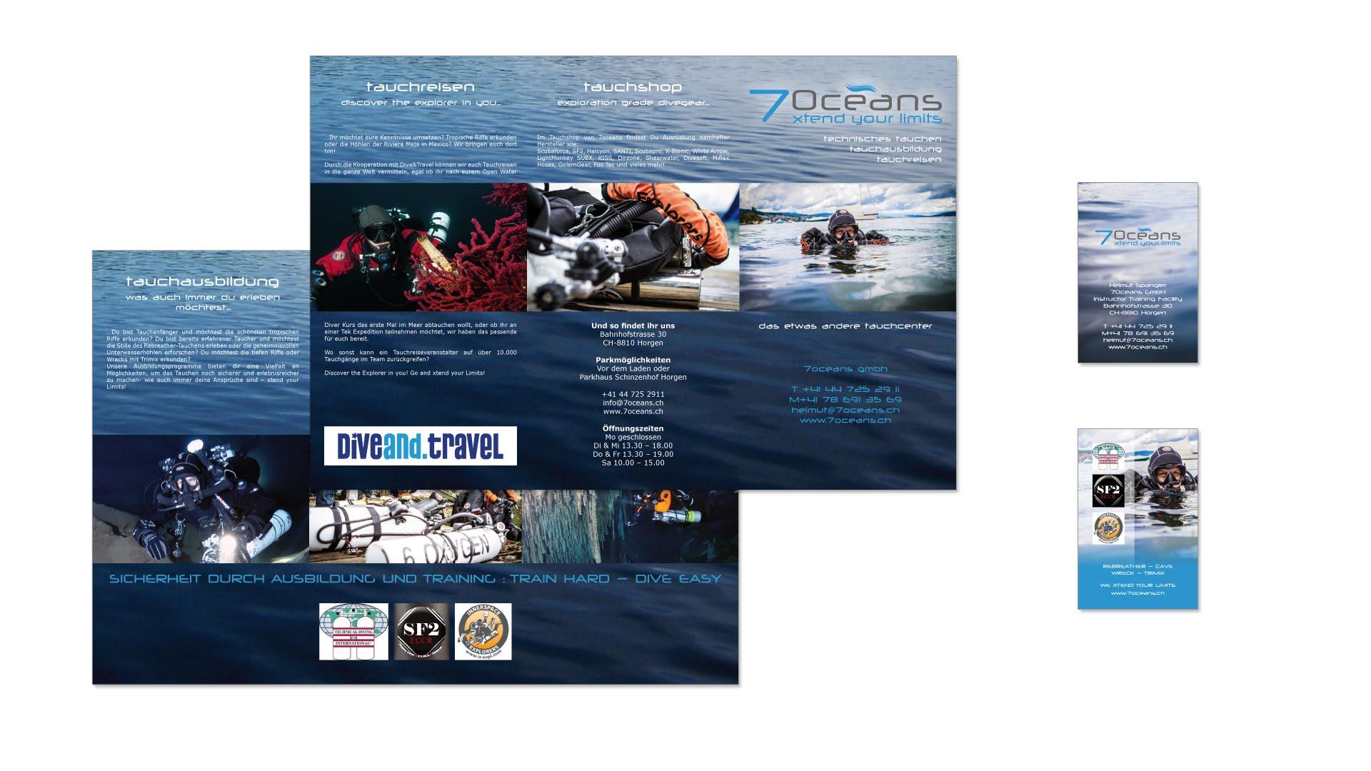 Visitenkarten und Faltprospekt 7oceans