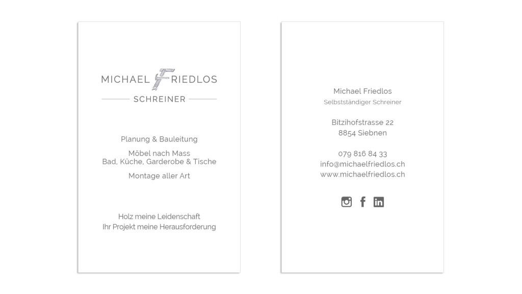 Geschäftsdrucksachen visitenkarte Michael Friedlos Schreiner